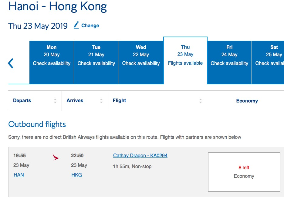 zoekopdracht british airways hanoi hong kong award ticket
